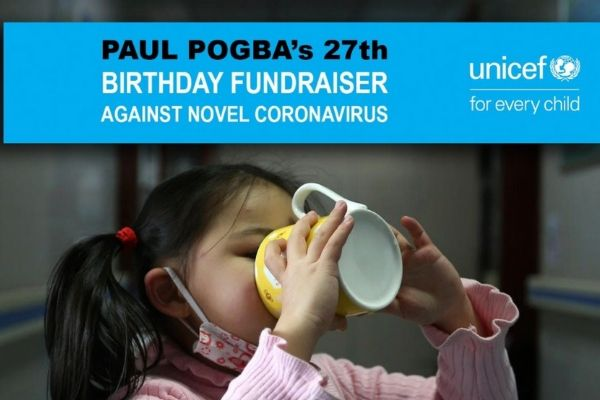 Paul Pogba launches Facebook birthday fundraiser to help UNICEF tackle coronavirus